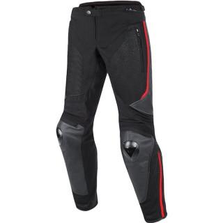 PANTALONI DAINESE MIG LEATHER-TEX PANTS- BLACK RED LAVA