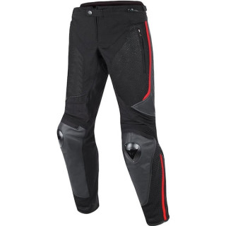 DAINESE MIG LEATHER-TEX PANTS - BLACK RED LAVA