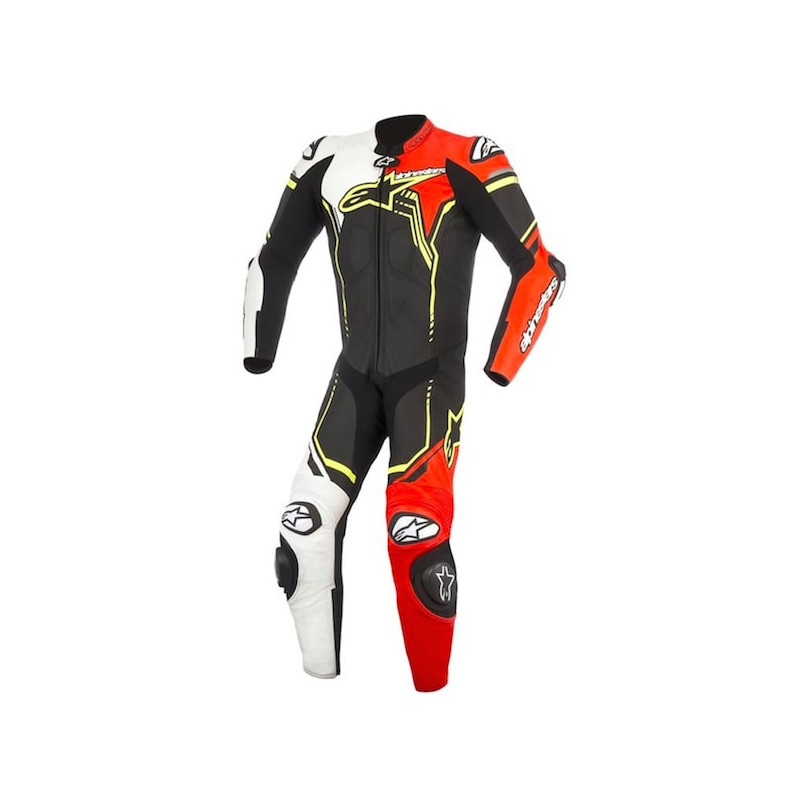 ALPINESTARS GP PLUS v2 LEATHER SUIT - BLACK WHITE RED FLUO YELLOW FLUO