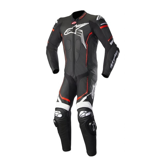 TUTA INTERA ALPINESTARS GP PLUS v2 LEATHER SUIT - BLACK WHITE RED FLUO