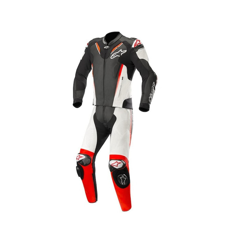 ALPINESTARS v3 2PC LEATHER SUIT - BLACK WHITE RED FLUO