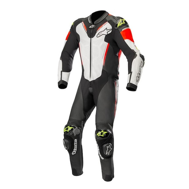 ALPINESTARS ATEM v3 LEATHER SUIT - BLACK WHITE RED FLUO YELOW FLUO