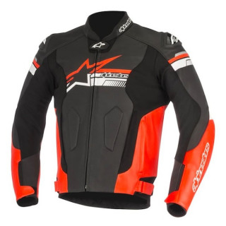 ALPINESTARS FUJI LEATHER JACKET - BLACK RED FLUO