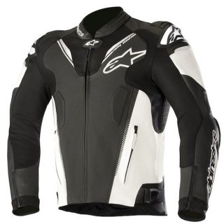 GIACCA ALPINESTARS ATEM v3 LEATHER JACKET - BLACK WHITE