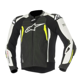 ALPINESTARS GP TECH v2 TECH-AIR LEATHER JACKET - BLACK WHITE YELLOW FLUO