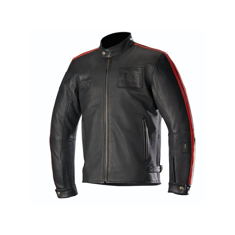 ALPINESTARS CHARLIE TECH-AIR LEATHER JACKET - BLACK RED