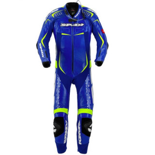 SPIDI TRACK WIND REPLICA EVO LEATHER SUIT - BLUE YELLOW