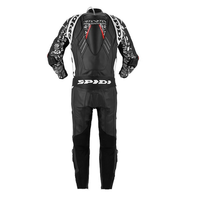 SPIDI TRACK WIND REPLICA EVO LEATHER SUIT BLACK WHITE - BACK