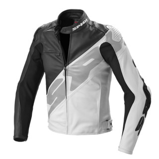 SPIDI SUPER R LEATHER JACKET - BLACK WHITE