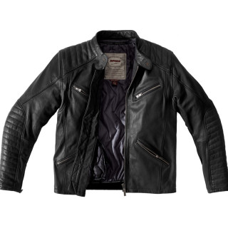 SPIDI METAL LEATHER JACKET - BLACK