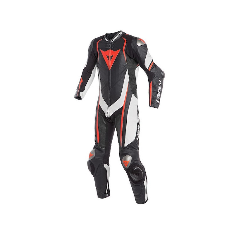 DAINESE KYALAMI 1 PC PERFORATED SUIT - BLACK WHITE FLUO RED