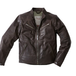 SPIDI GARAGE LEATHER JACKET - BROWN
