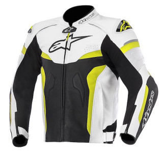 ALPINESTARS CELER LEATHER JACKET - BLACK WHITE YELLOW FLUO