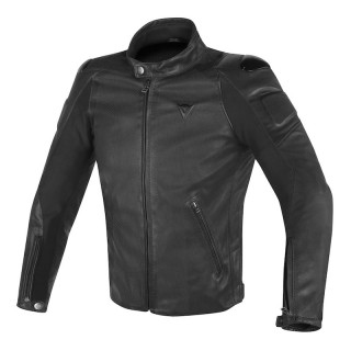 GIACCA DAINESE STREET DARKER PERF. LEATHER JACKET - Black
