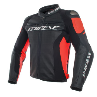 GIACCA DAINESE RACING 3 PERF. LEATHER JACKET - BLACK-FLUO RED