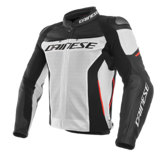 GIACCA DAINESE RACING 3 PERF. LEATHER JACKET - WHITE-BLACK-RED