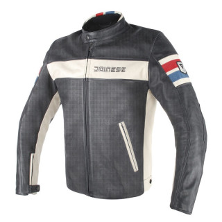 GIACCA DAINESE HF D1 PERFORATED LEATHER JK - Black-Ice-Red-Blue