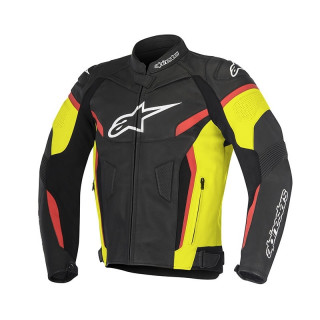 ALPINESTARS GP PLUS R V2 LEATHER JACKET - BLACK YELLOW FLUO RED FLUO