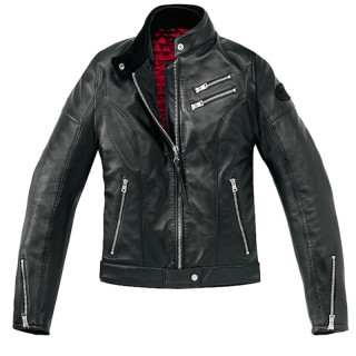 SPIDI CAFE RACE LADY LEATHER JACKET - BLACK