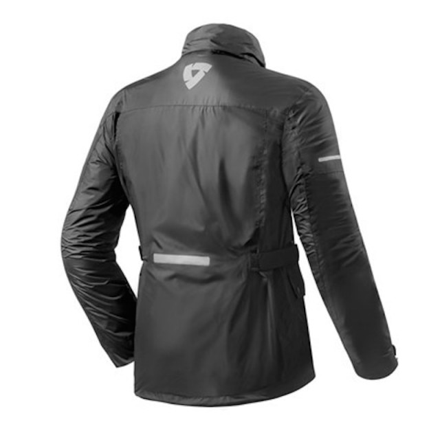 REV'IT QUARTZ H2O RAIN JACKET BLACK - BACK