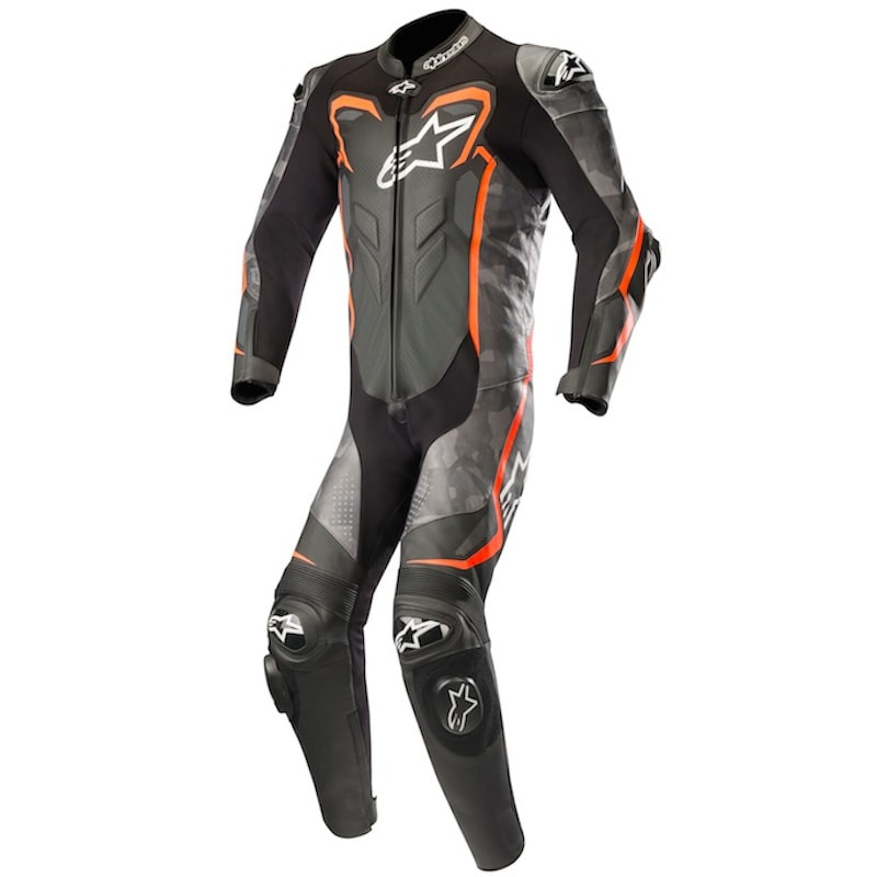 ALPINESTARS GP PLUS CAMO LEATHER SUIT - BLACK CAMO RED FLUO