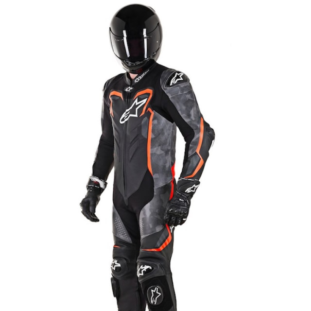TUTA INTERA ALPINESTARS GP PLUS CAMO LEATHER SUIT BLACK CAMO RED FLUO - PILOTA