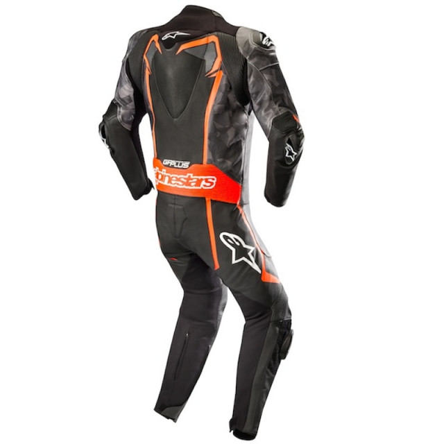 ALPINESTARS GP PLUS CAMO LEATHER SUIT BLACK CAMO RED FLUO - BACK