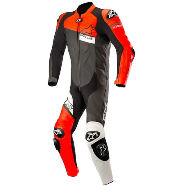 TUTA INTERA ALPINESTARS GP PLUS VENOM LEATHER SUIT - BLACK RED FLUO WHITE