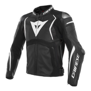 GIACCA DAINESE MUGELLO PERF. LEATHER JACKET - Black-White