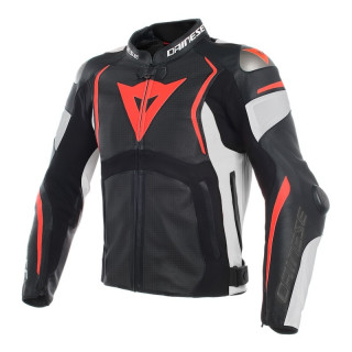 GIACCA DAINESE MUGELLO PERF. LEATHER JACKET - Black-White-Fluo Red