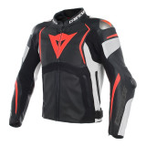 DAINESE MUGELLO PERF. LEATHER JACKET - Black-White-Fluo Red