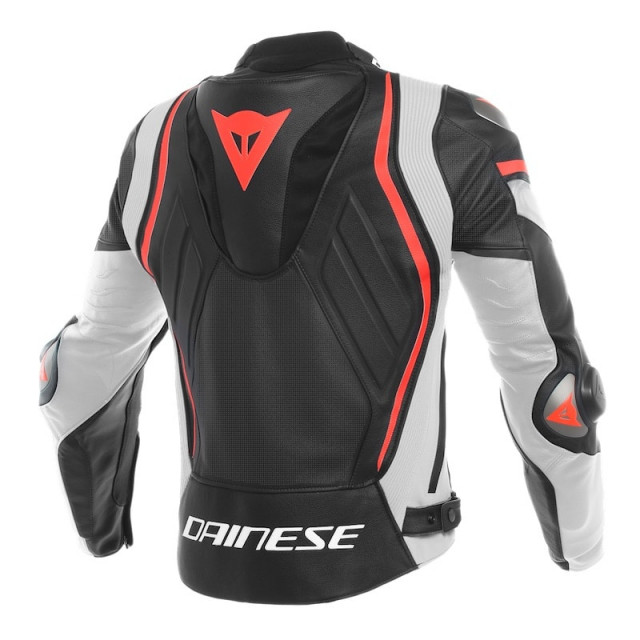 DAINESE MUGELLO PERF. LEATHER JACKET - Black-White-Fluo Red - BACK