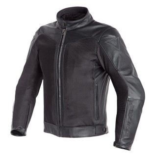 GIACCA DAINESE CORBIN D-DRY LEATHER JACKET - BLACK