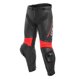 DAINESE DELTA 3 LEATHER PANTS - Black-Fluo Red