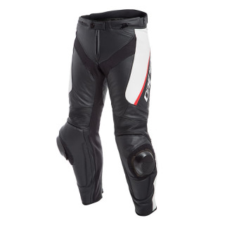 PANTALONI DAINESE DELTA 3 PERFORATED LEATHER PANTS - Black-White-Red