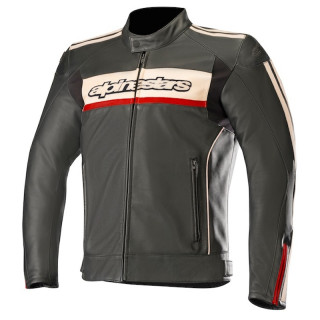 GIACCA ALPINESTARS DYNO v2 LEATHER JACKET - BLACK STONE RED