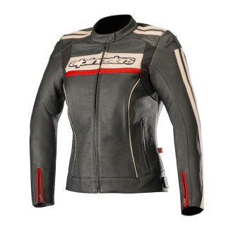 ALPINESTARS STELLA DYNO v2 LEATHER JACKET - BLACK STONE RED