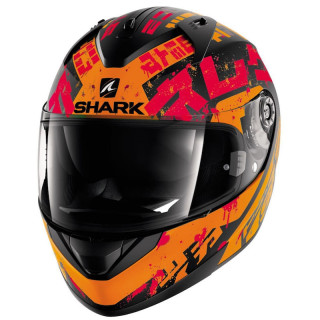 CASCO SHARK RIDILL KENGAL MAT - MAT BLACK ORANGE RED