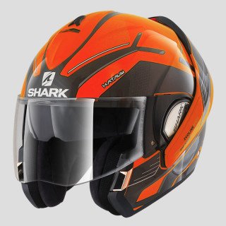 SHARK EVOLINE SERIES 3 HATAUM HI-VIS HELMET - ORANGE BLACK ANTHRACITE