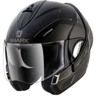 SHARK EVOLINE SERIES 3 HATAUM MAT HELMET - MAT BLACK ANTHRACITE WHITE