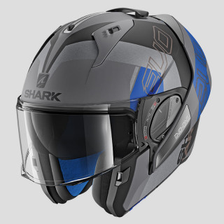SHARK EVO-ONE 2 SLASHER MAT HELMET - MAT ANTHRACITE BLACK BLUE