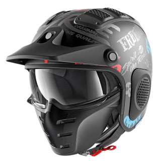 SHARK X-DRAK FREEESTYLE CUP MAT HELMET - MAT BLACK ANTHRACITE BLUE