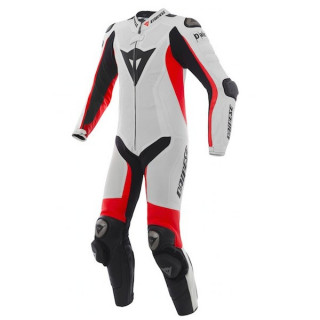 DAINESE D-AIR RACING MISANO ESTIVA LEATHER SUIT - WHITE FLUO RED BLACK