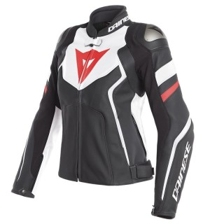 GIACCA DAINESE AVRO 4 LADY LEATHER JACKET - Black Matt-White-Fluo Red