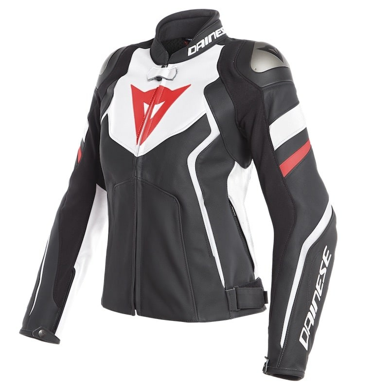 DAINESE AVRO 4 LADY LEATHER JACKET - Black Matt-White-Fluo Red