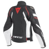 DAINESE AVRO 4 LADY LEATHER JACKET - Black Matt-White-Fluo Red - BACK