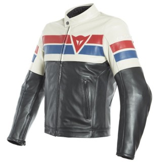 GIACCA DAINESE 8-TRACK LEATHER JACKET - Black-Ice-Red