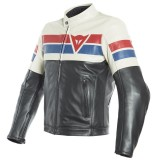 DAINESE 8-TRACK LEATHER JACKET - Black-Ice-Red