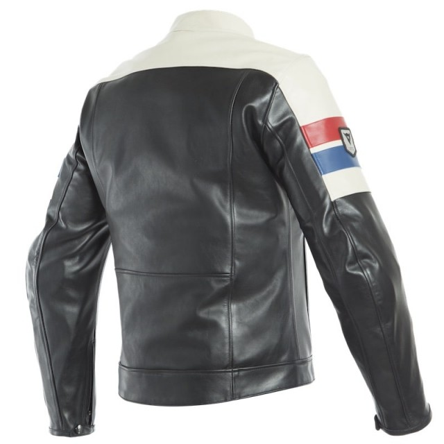 DAINESE 8-TRACK LEATHER JACKET - Black-Ice-Red - BACK