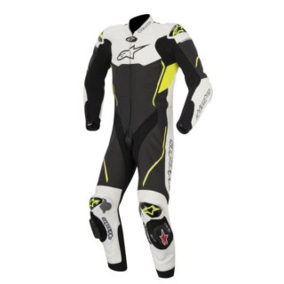 TUTA ALPINESTARS ATEM LEATHER SUIT - NERO BIANCO GIALLO FLUO